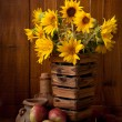 Still life with Sunflowers — Stock Photo