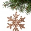 Christmas golden snowflake hanging on a spruce on white background — Stock Photo