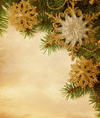 Beige paper background with Christmas border — Photo