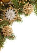 孤立在白色的圣诞边框 — 图库照片
