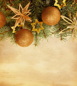 Beige paper background with Christmas border — Stock Photo