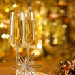 Glass of wine with a Christmas decor — Stok fotoğraf