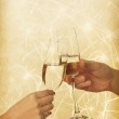 Glasses of champagne in the hands of the Background Lights — Stock Photo