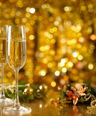 Glass of wine with a Christmas decor — Stock Photo