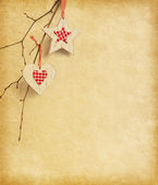 Paper background with Christmas decoration. — Stock Photo