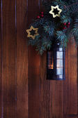 Christmas lantern in evening — Foto Stock