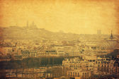 The view on the old part of Paris, the faraway Montmartre. — Stock Photo