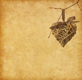 Heart hanging on branch — Stock Photo