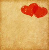 Vintage paper with two hearts — Stock Photo