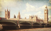 The Palace of Westminster, Elizabeth Tower and Westminster Bridge — Stock Photo