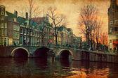 Por la noche en amsterdam, países bajos — Foto de Stock