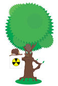 Fairy tree holds radiation warning sign — Stock Photo