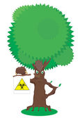 Fairy tree holding a sign biohazard — Stockfoto