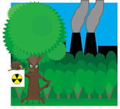 Fairy tree holds radiation hazard sign on the background of fore — Stock Photo