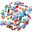 Footballs and flags — Stock Photo