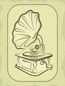 Ancien gramophone antiquaire — Vecteur