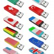 Set flash USB isolated  — Stock Photo