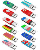 Set flash USB isolated — Foto de Stock