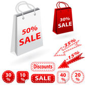 Sale banners set and bags. Shopping. — Stock Vector