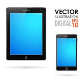 Tablet pc y teléfono móvil — Vector de stock