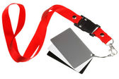 White balance cards on a red ribbon — Foto Stock