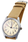 Beige wristwatch closeup — Stock Photo
