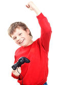 Happy boy with gamepad in hands — Stock Photo