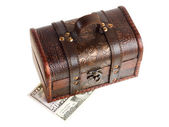 Wooden chest with money — Stock Photo