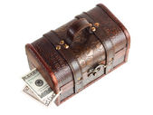Wooden chest with money — Fotografia Stock