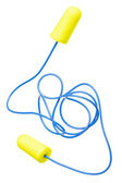 Yellow earplugs with blue band — Stock Photo