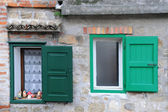 Two Windows with Green Shutters — Stock Photo