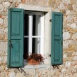 Window with Green Shutters — Stock Photo #17856835