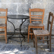 Three Old Chairs and One Table — Stock Photo