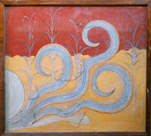 Minoan Octopus Fresco — Stock Photo