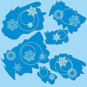 Fiocco di neve stracciato rettangolo disegno 004 — Vettoriale Stock