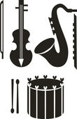 Vector. Music instrument sets — Stock Vector