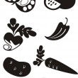 Vector. Fruit set in black — Stock Vector