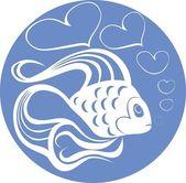 Vector. Valentine's Day Fish — Vector de stock