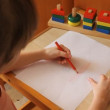 Little girl paints the home — Stock Video