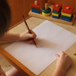 Little girl draws a cat — Stock Video #21951181