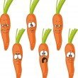 Vector.Emotion cartoon carrot set — Stock Vector