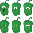 Vector.Emotion cartoon peppers set. Green peppers — Stock Vector #24642829