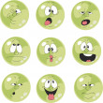Set of emotional green balls — Stock Vector #24642913