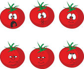Vector.Emotion cartoon tomato set — Stockvektor