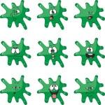 Emotion smiles cartoon green blot color set 008 — Stock Vector #25553675