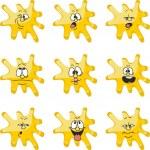 Emotion smiles cartoon yellow blot color set 006 — Stock Vector #25553695