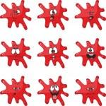 Emotion smiles cartoon red blot color set 004 — Stock Vector #25553697