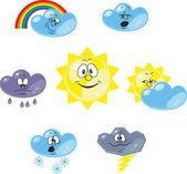Weather cartoon set 001 — Stock Vector