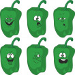 Emotion cartoon green pepper vegetables set  — Stock Photo