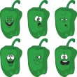 Stock Photo: Emotion cartoon green pepper vegetables set